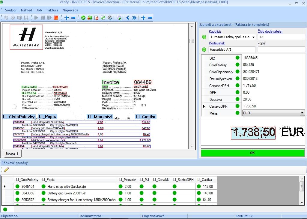Invoices - kontrolní obrazovka Verify EN faktura