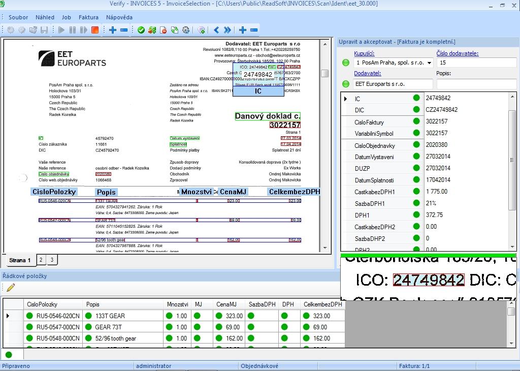 Invoices - kontrolní obrazovka Verify