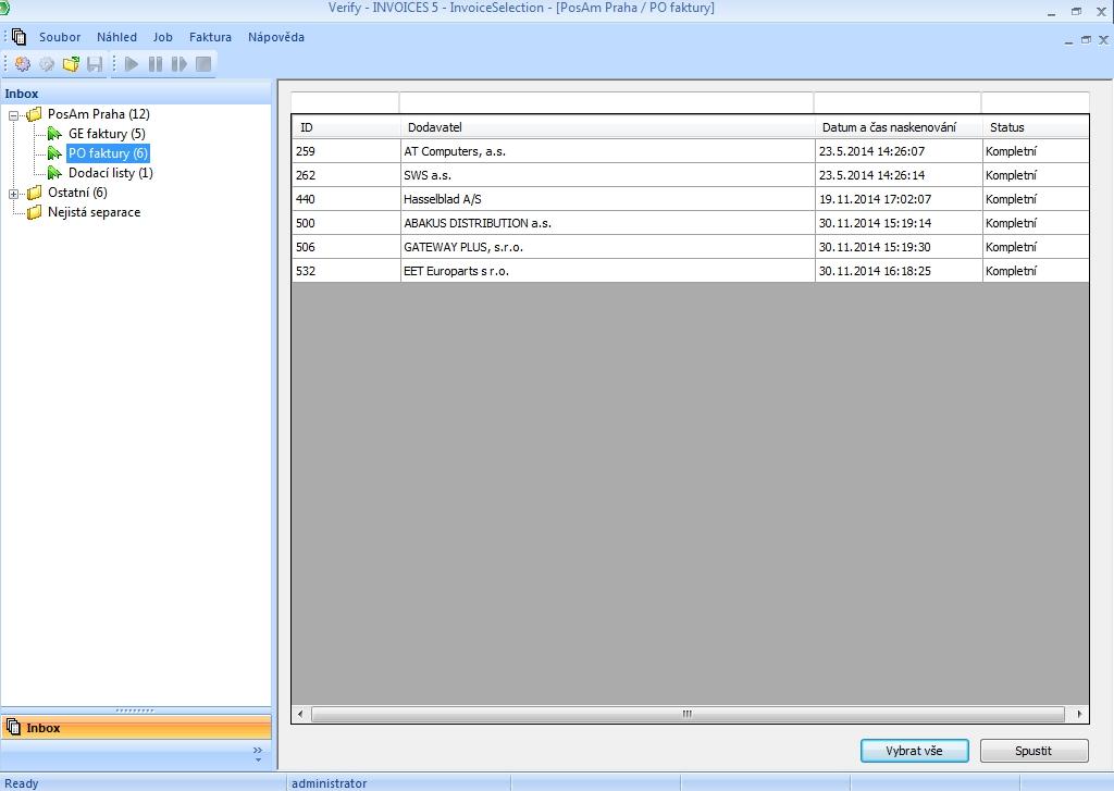 Invoices - Úvodní obrazovka Verify
